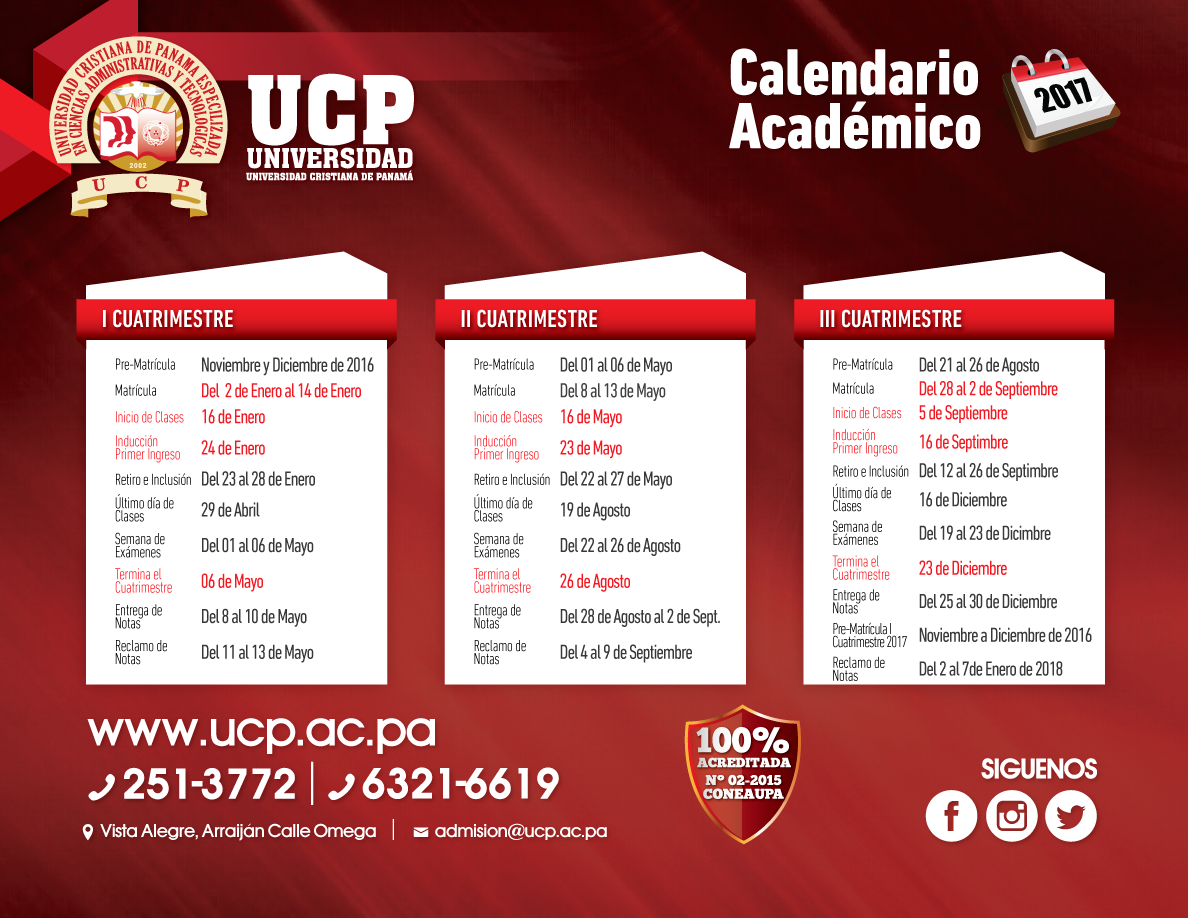 Calendario Universidad De Panama 2018.Calendario Academico Universidad Cristiana De Panama